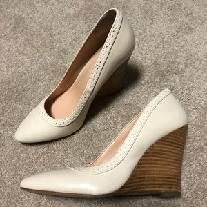 Sole society cream ivory leather pointy wedges